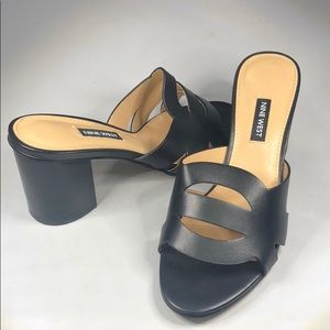 (p271) Nine West Nevaeh Slide Sandals - Black 8.5M